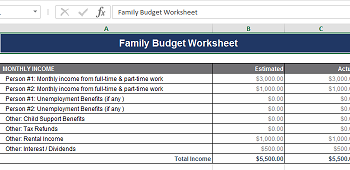 excel family budget calculator download excel sheet com