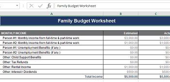 excel family budget calculator download excel sheet com